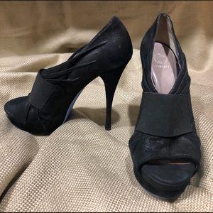 Versace Black Suede Peep-Toe Pumps